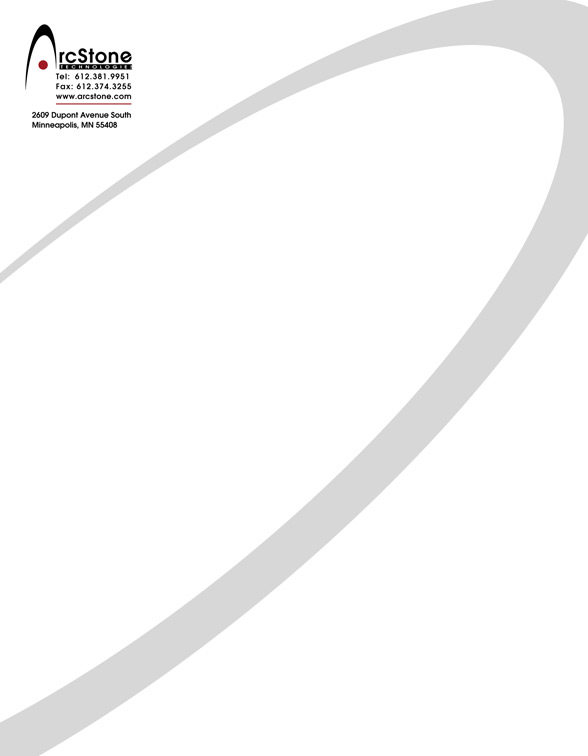 Eric Pedersen: Arcstone Technologies - Letterhead
