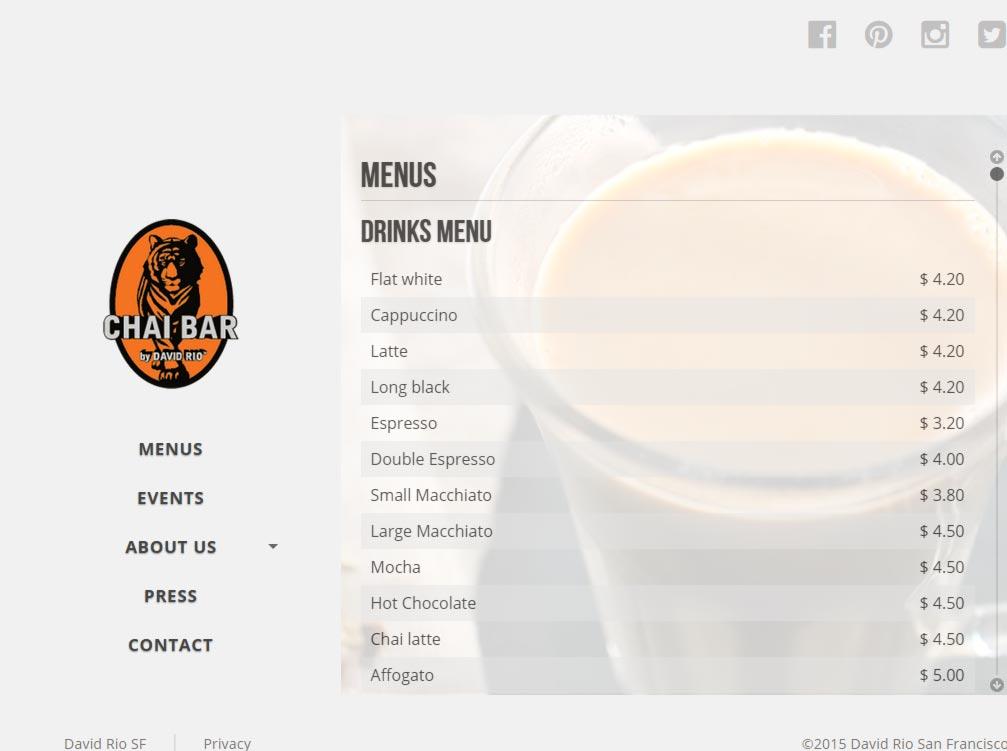 Eric Pedersen: Chai Bar SF Menus - Tablet Version