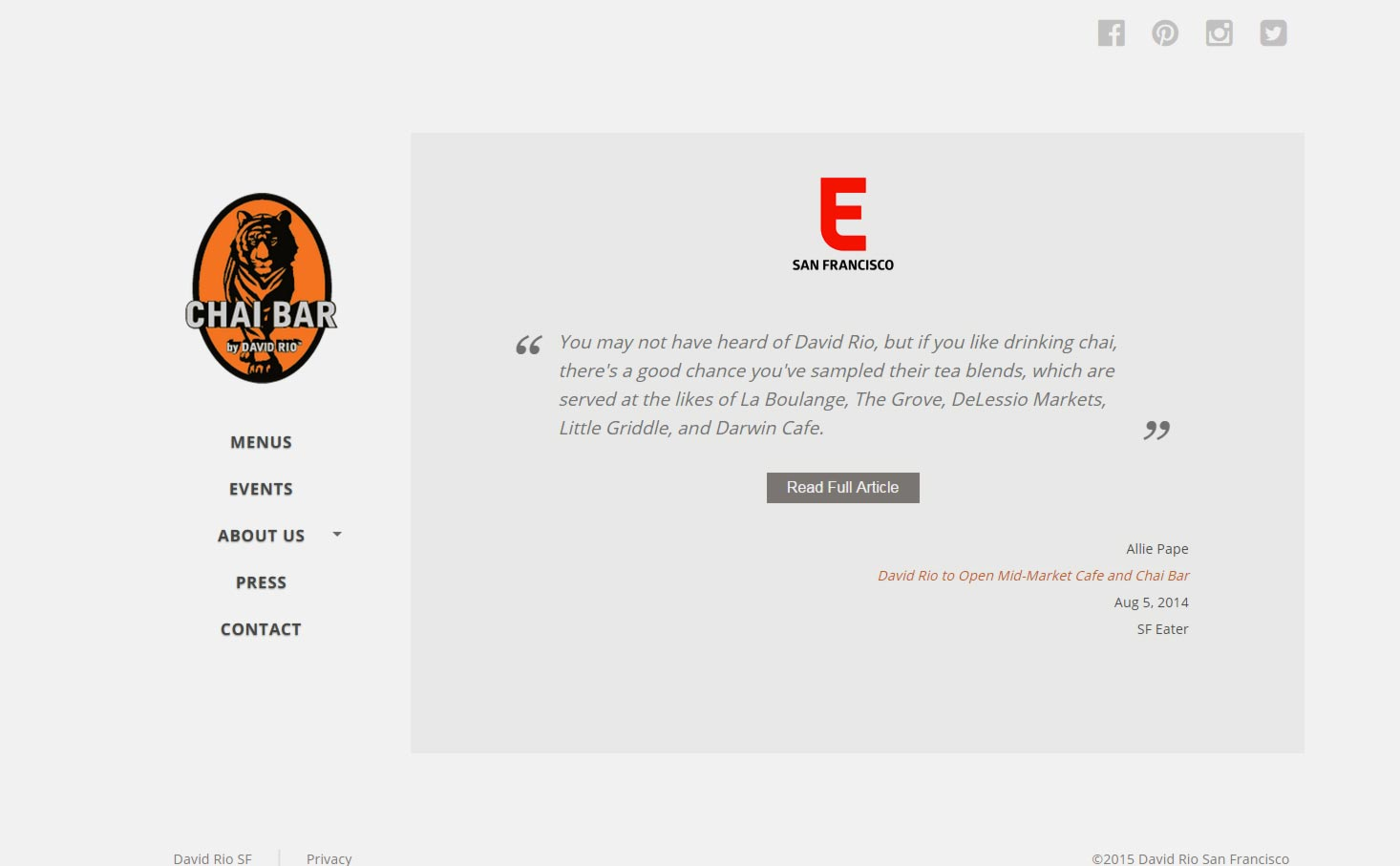 Eric Pedersen: Chai Bar SF Press - Desktop Version