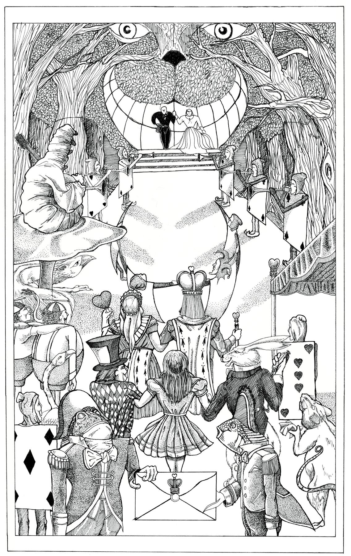 Illustration - Wedding Invitation - Alice in Wonderland - Eric Pedersen