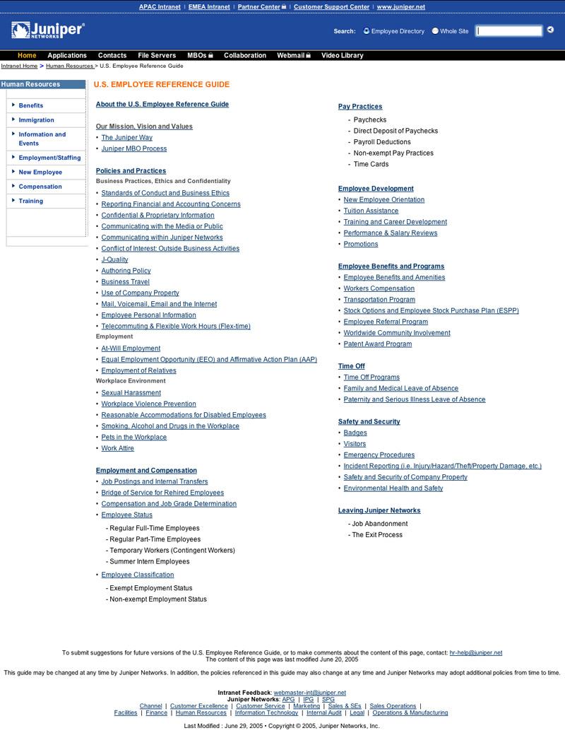 Eric Pedersen: Juniper Network - Employee Reference Guide