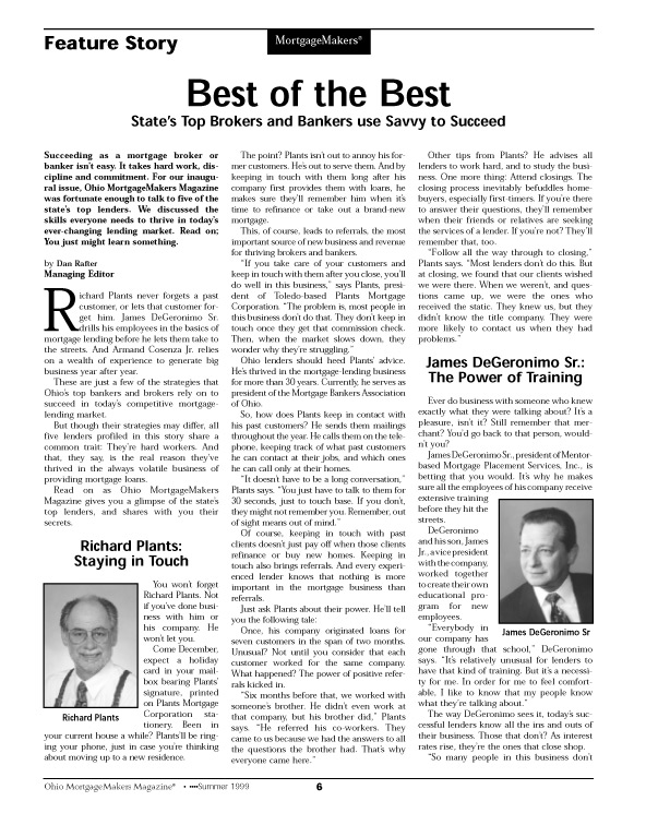 Eric Pedersen: Ohio MortgageMakers - Inside Page Sample